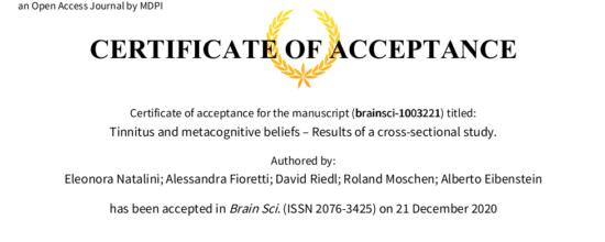 Nuova pubblicazione su Brain Sciences